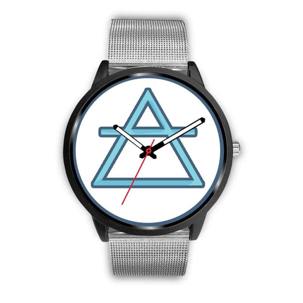 Air Element Alchemy Wiccan Symbol Custom-Designed Wrist Watch - Mens 40Mm / Silver Metal Mesh - Black Watch