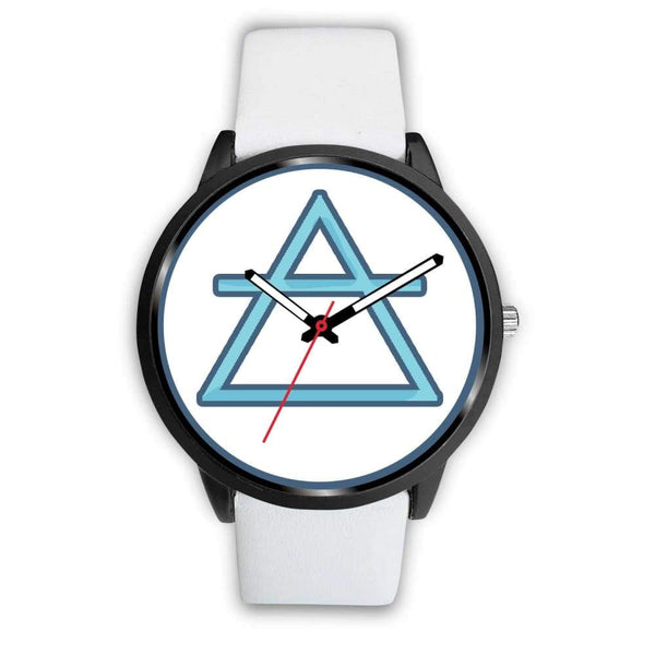 Air Element Alchemy Wiccan Symbol Custom-Designed Wrist Watch - Mens 40Mm / White Leather - Black Watch