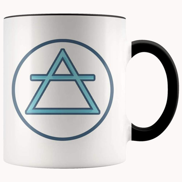 Air Element Wiccan Alchemy Symbol 11Oz. Ceramic White Mug - Black - Drinkware