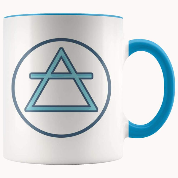 Air Element Wiccan Alchemy Symbol 11Oz. Ceramic White Mug - Blue - Drinkware