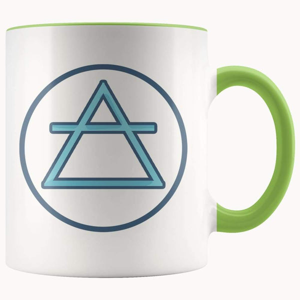 Air Element Wiccan Alchemy Symbol 11Oz. Ceramic White Mug - Green - Drinkware