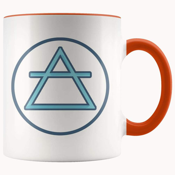 Air Element Wiccan Alchemy Symbol 11Oz. Ceramic White Mug - Orange - Drinkware