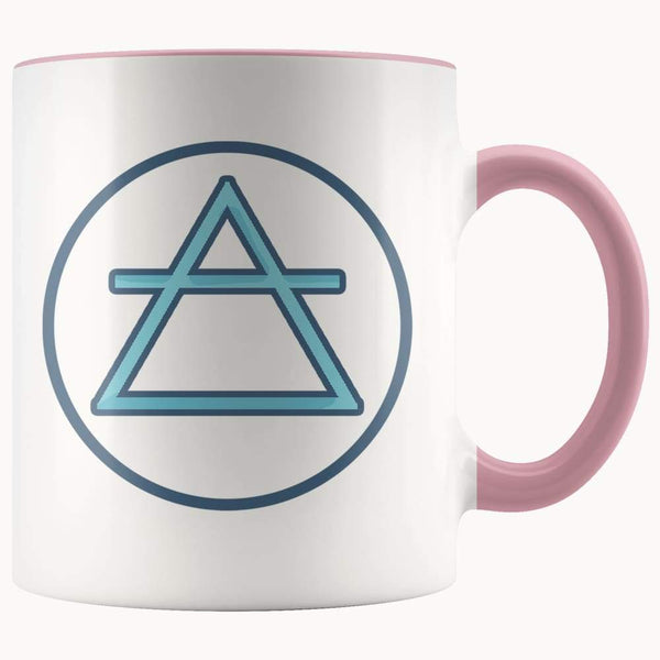 Air Element Wiccan Alchemy Symbol 11Oz. Ceramic White Mug - Pink - Drinkware