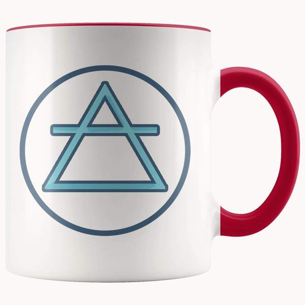 Air Element Wiccan Alchemy Symbol 11Oz. Ceramic White Mug - Red - Drinkware