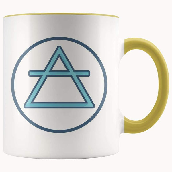 Air Element Wiccan Alchemy Symbol 11Oz. Ceramic White Mug - Yellow - Drinkware