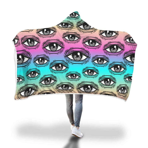 All Seeing Eye Ancient Egyptian Eye Of Horus Hooded Snuggle Meditation Blanket. - Hooded Blanket