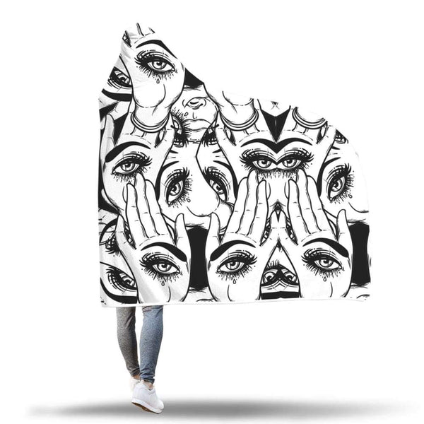 All Seeing Eye Hamsa Egyptian Style Horus Eye Abstract Buddhist Hooded Snuggle Meditation Blanket - Hooded Blanket