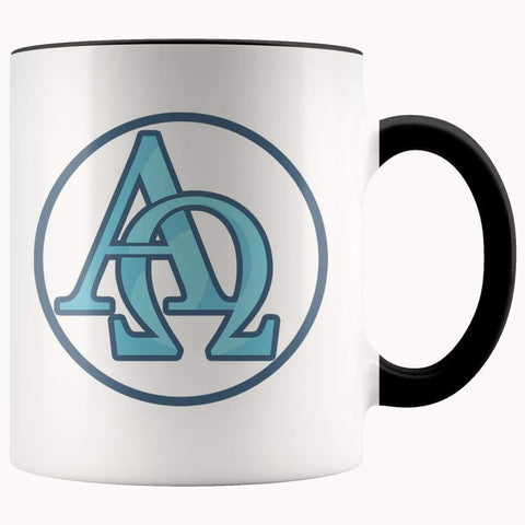 Alpha And Omega Christian Greek Symbol 11Oz. Ceramic White Mug - Black - Drinkware