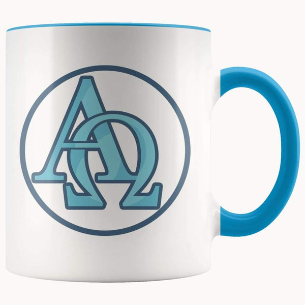 Alpha And Omega Christian Greek Symbol 11Oz. Ceramic White Mug - Blue - Drinkware