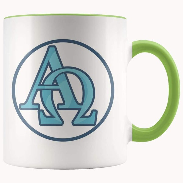 Alpha And Omega Christian Greek Symbol 11Oz. Ceramic White Mug - Green - Drinkware