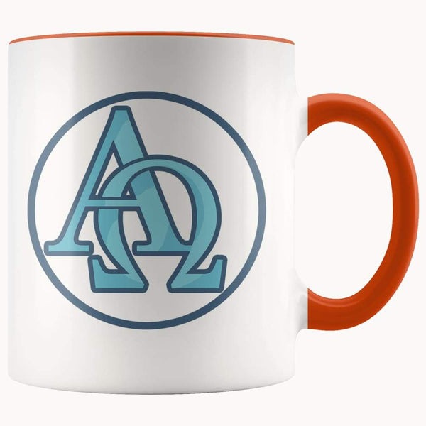 Alpha And Omega Christian Greek Symbol 11Oz. Ceramic White Mug - Orange - Drinkware