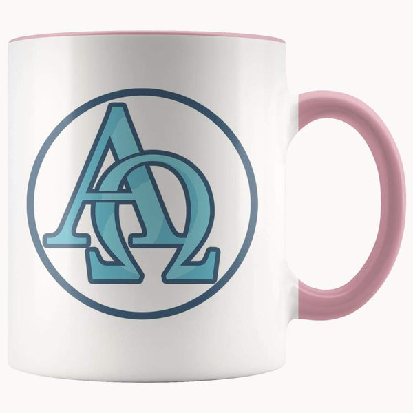 Alpha And Omega Christian Greek Symbol 11Oz. Ceramic White Mug - Pink - Drinkware