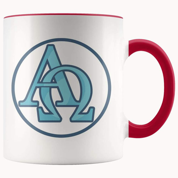 Alpha And Omega Christian Greek Symbol 11Oz. Ceramic White Mug - Red - Drinkware