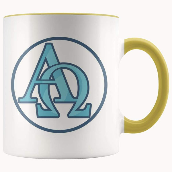 Alpha And Omega Christian Greek Symbol 11Oz. Ceramic White Mug - Yellow - Drinkware