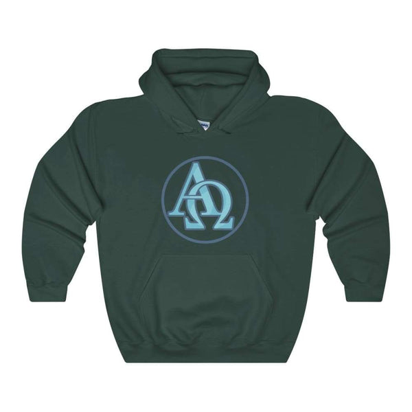 Alpha And Omega Christian Greek Symbol Unisex Heavy Blend Hooded Sweatshirt - Forest Green / S - Hoodie