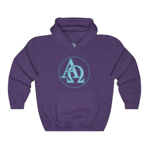 Alpha And Omega Christian Greek Symbol Unisex Heavy Blend Hooded Sweatshirt - Purple / L - Hoodie