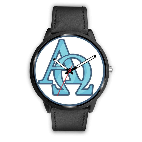 Alpha And Omega Greek Christian Symbol Custom-Designed Wrist Watch - Mens 40Mm / Black Leather - Black Watch