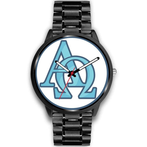 Alpha And Omega Greek Christian Symbol Custom-Designed Wrist Watch - Mens 40Mm / Black Metal Link - Black Watch