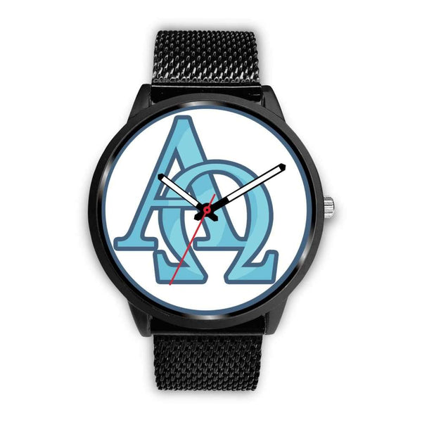 Alpha And Omega Greek Christian Symbol Custom-Designed Wrist Watch - Mens 40Mm / Black Metal Mesh - Black Watch