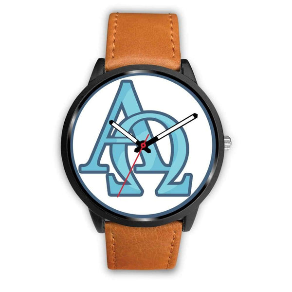 Alpha And Omega Greek Christian Symbol Custom-Designed Wrist Watch - Mens 40Mm / Brown Leather - Black Watch