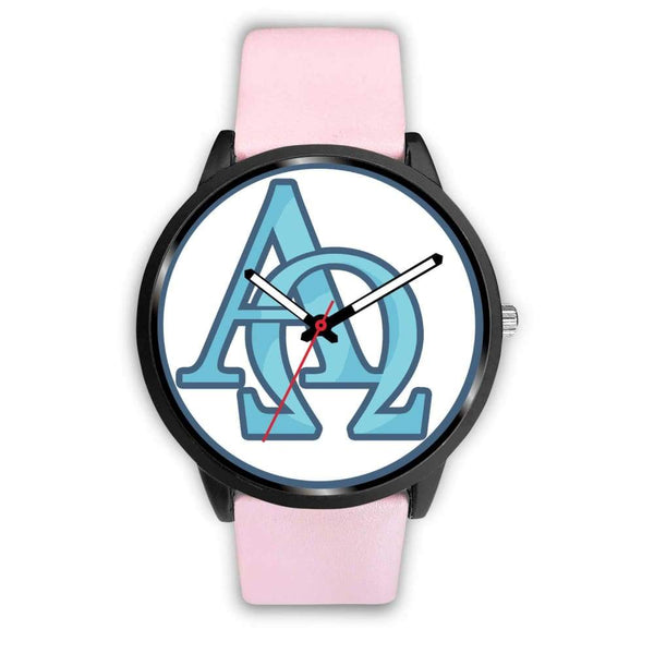 Alpha And Omega Greek Christian Symbol Custom-Designed Wrist Watch - Mens 40Mm / Pink Leather - Black Watch