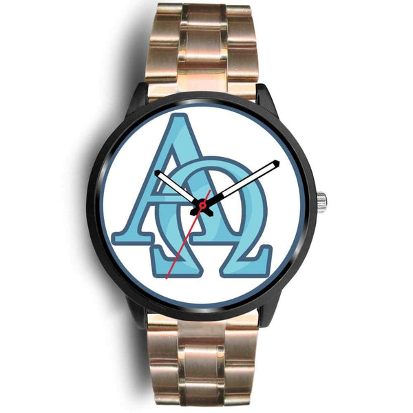 Alpha And Omega Greek Christian Symbol Custom-Designed Wrist Watch - Mens 40Mm / Rose Gold Metal Link - Black Watch