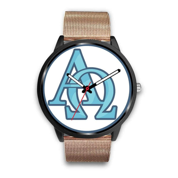 Alpha And Omega Greek Christian Symbol Custom-Designed Wrist Watch - Mens 40Mm / Rose Gold Metal Mesh - Black Watch