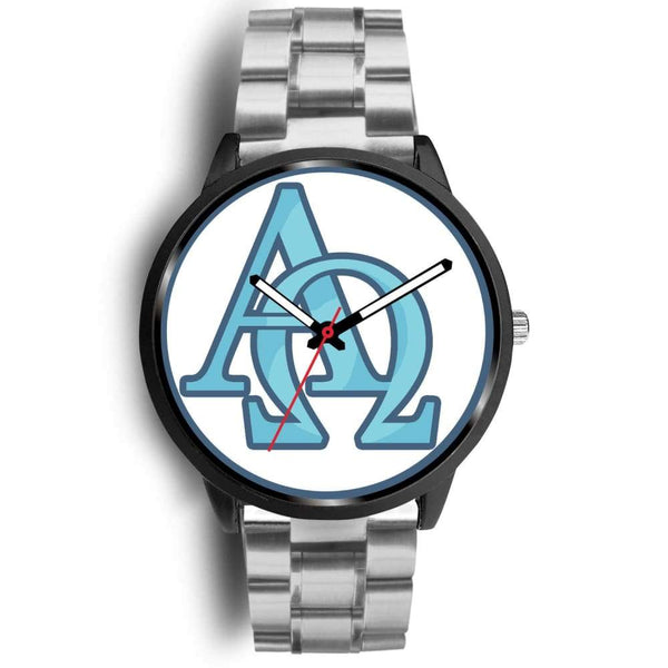 Alpha And Omega Greek Christian Symbol Custom-Designed Wrist Watch - Mens 40Mm / Silver Metal Link - Black Watch