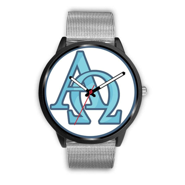 Alpha And Omega Greek Christian Symbol Custom-Designed Wrist Watch - Mens 40Mm / Silver Metal Mesh - Black Watch