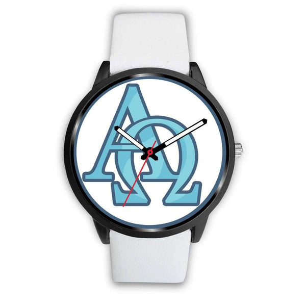 Alpha And Omega Greek Christian Symbol Custom-Designed Wrist Watch - Mens 40Mm / White Leather - Black Watch