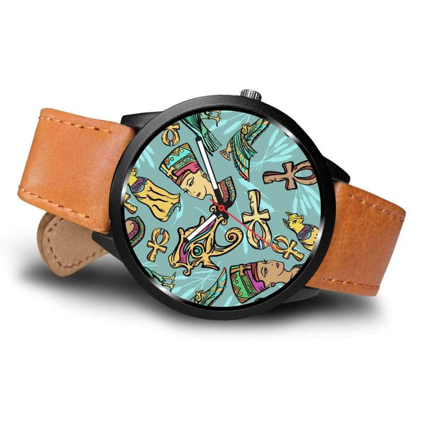 Ancient Egypt Style Design Ankh Symbol Eye Of Ra And Horus Pattern Custom-Designed Wrist Watch - Watch