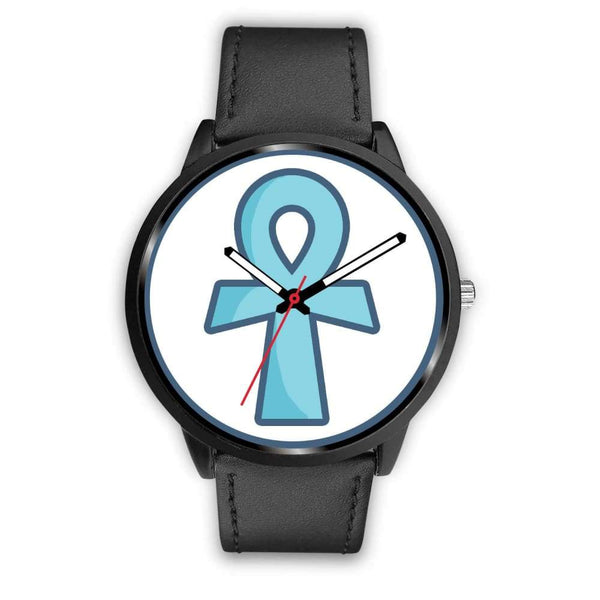Ankh Ancient Egyptian Cross Symbol Custom-Designed Wrist Watch - Mens 40Mm / Black Leather - Black Watch