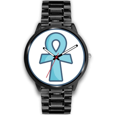 Ankh Ancient Egyptian Cross Symbol Custom-Designed Wrist Watch - Mens 40Mm / Black Metal Link - Black Watch