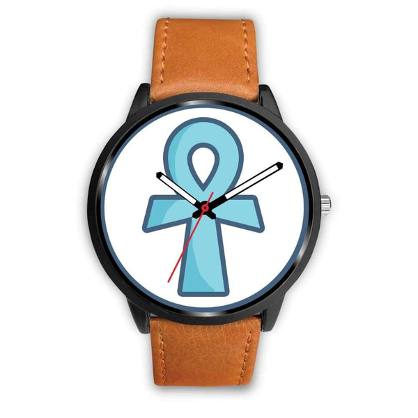 Ankh Ancient Egyptian Cross Symbol Custom-Designed Wrist Watch - Mens 40Mm / Brown Leather - Black Watch