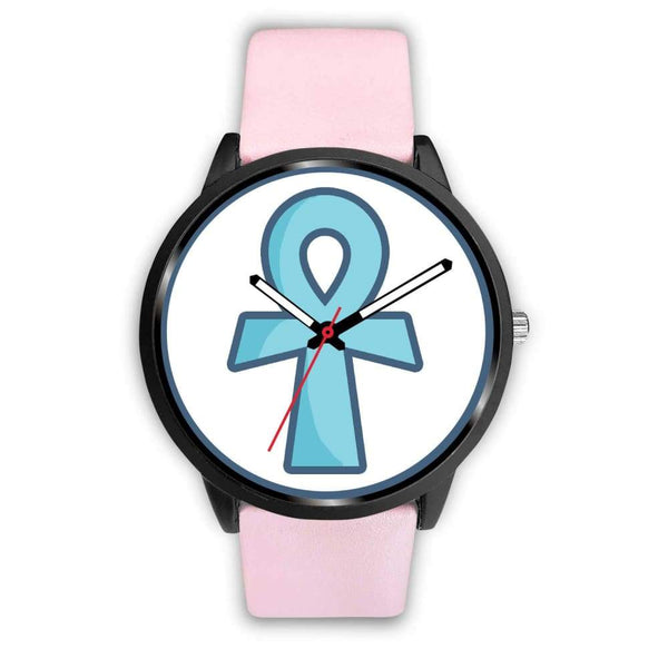 Ankh Ancient Egyptian Cross Symbol Custom-Designed Wrist Watch - Mens 40Mm / Pink Leather - Black Watch