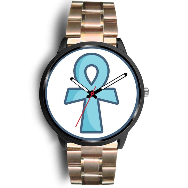 Ankh Ancient Egyptian Cross Symbol Custom-Designed Wrist Watch - Mens 40Mm / Rose Gold Metal Link - Black Watch