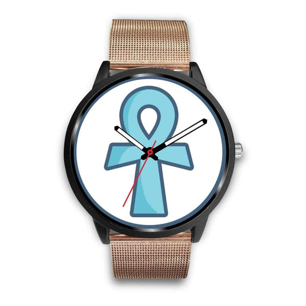 Ankh Ancient Egyptian Cross Symbol Custom-Designed Wrist Watch - Mens 40Mm / Rose Gold Metal Mesh - Black Watch