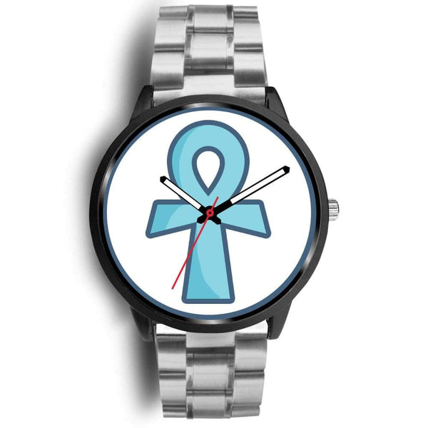 Ankh Ancient Egyptian Cross Symbol Custom-Designed Wrist Watch - Mens 40Mm / Silver Metal Link - Black Watch