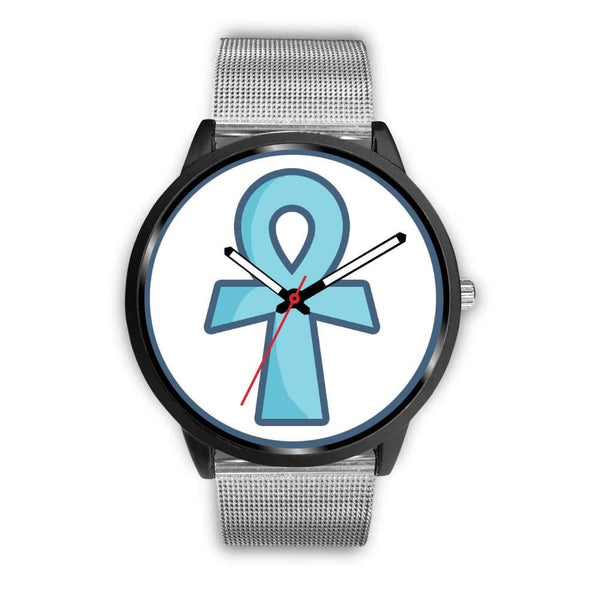 Ankh Ancient Egyptian Cross Symbol Custom-Designed Wrist Watch - Mens 40Mm / Silver Metal Mesh - Black Watch