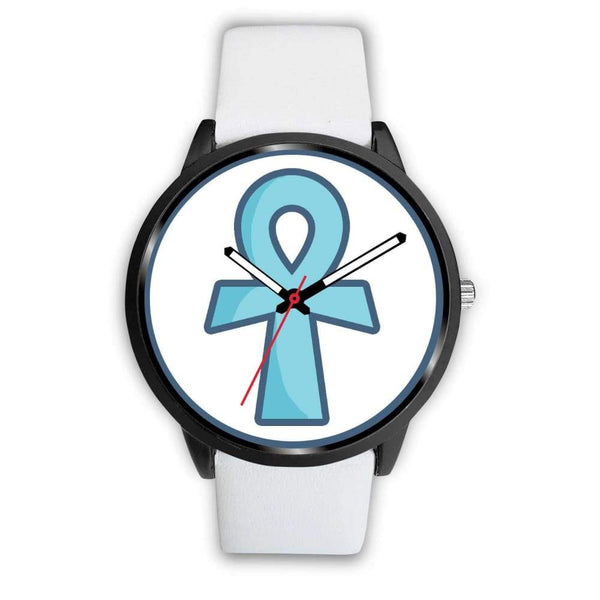 Ankh Ancient Egyptian Cross Symbol Custom-Designed Wrist Watch - Mens 40Mm / White Leather - Black Watch