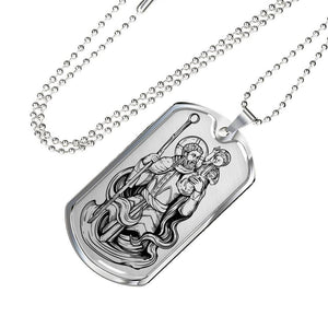 Saint Christopher Dog Tag Necklace. Patron Saint Of Travellers