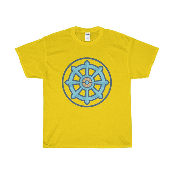 Unisex Heavy Cotton Tee, Buddhist Dharma Wheel Symbol T-shirt