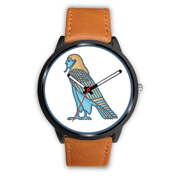 Ba Spirit Ancient Egyptian Symbol Custom-Designed Wrist Watch - Mens 40Mm / Brown Leather - Black Watch