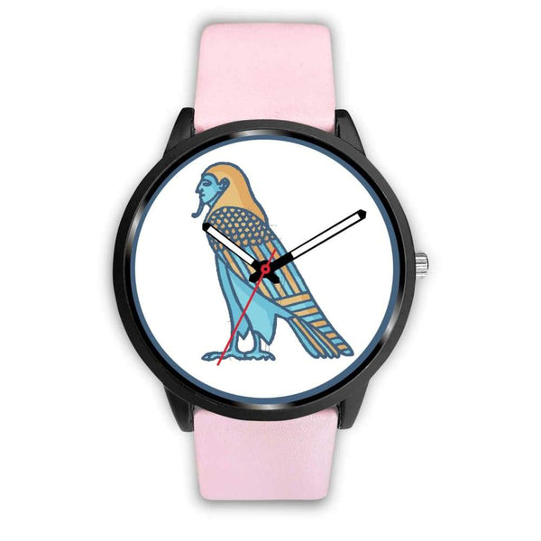 Ba Spirit Ancient Egyptian Symbol Custom-Designed Wrist Watch - Mens 40Mm / Pink Leather - Black Watch