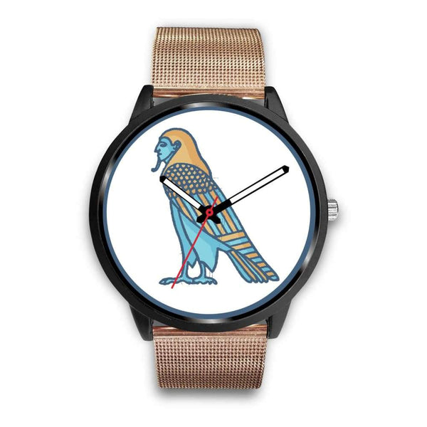 Ba Spirit Ancient Egyptian Symbol Custom-Designed Wrist Watch - Mens 40Mm / Rose Gold Metal Mesh - Black Watch