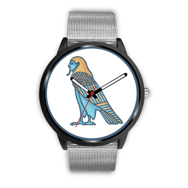 Ba Spirit Ancient Egyptian Symbol Custom-Designed Wrist Watch - Mens 40Mm / Silver Metal Mesh - Black Watch