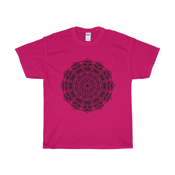 Unisex Heavy Cotton Tee Spiritual Design, Evil Eye Dharma Wheel T-shirt