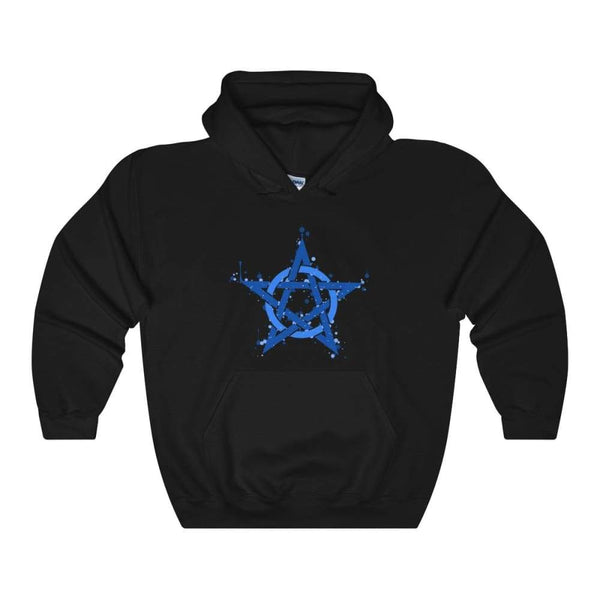 Blue Ink Style Pentagram Pentacle Wiccan Pagan Symbol Unisex Heavy Blend Hooded Sweatshirt - Black / S - Hoodie