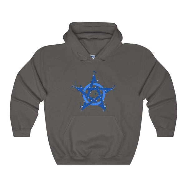 Blue Ink Style Pentagram Pentacle Wiccan Pagan Symbol Unisex Heavy Blend Hooded Sweatshirt - Charcoal / S - Hoodie