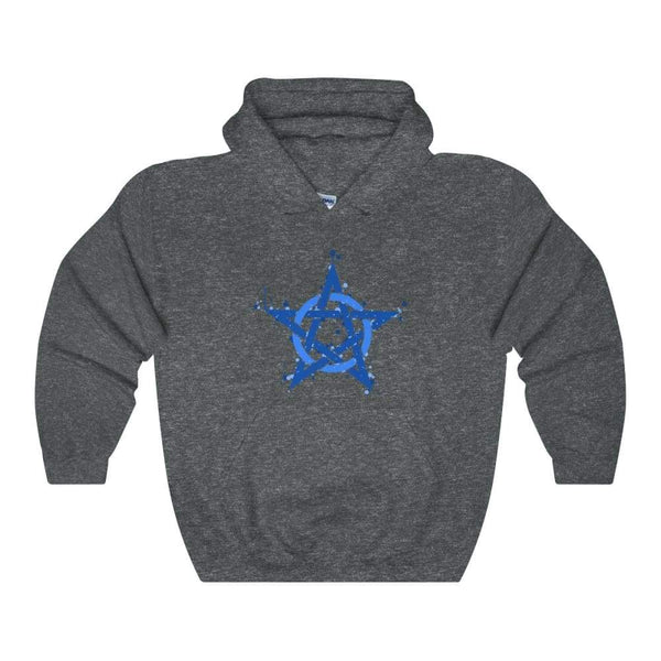 Blue Ink Style Pentagram Pentacle Wiccan Pagan Symbol Unisex Heavy Blend Hooded Sweatshirt - Dark Heather / S - Hoodie